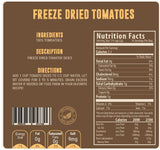 Freeze dried tomatoes nutritional facts panel