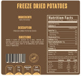 Freeze dried potatoes nutritional facts panel