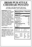 Irish Cheddar Potato Soup for emergency food supply nutritional facts panel