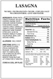Lasagna for emergency food supply nutritional facts panel