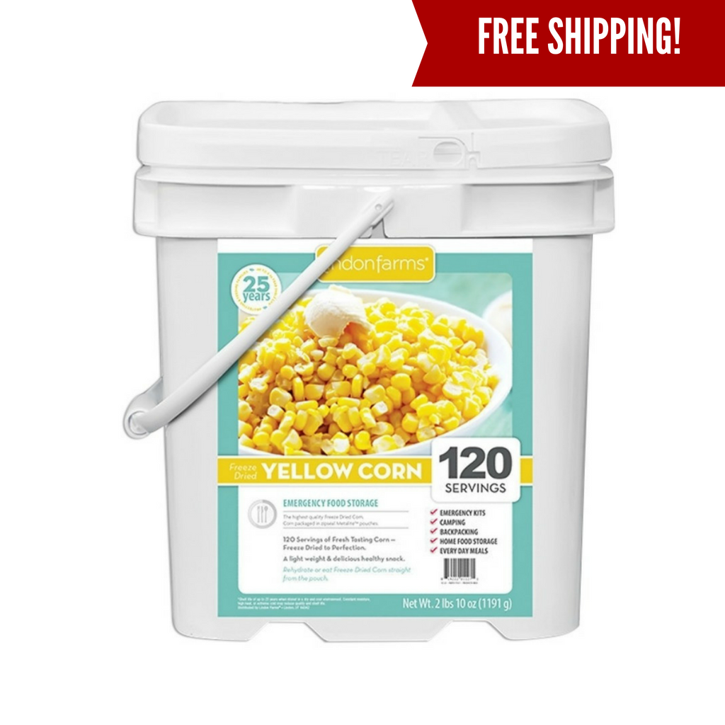 Freeze dried corn for emergency food supplies