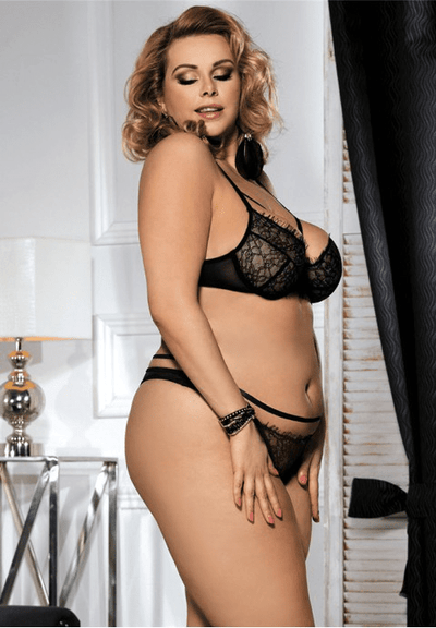Plus Size Eyelash Lace Bra Set