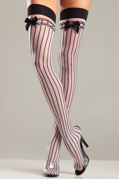 Pale Pink Pinstripe Thigh High Stockings