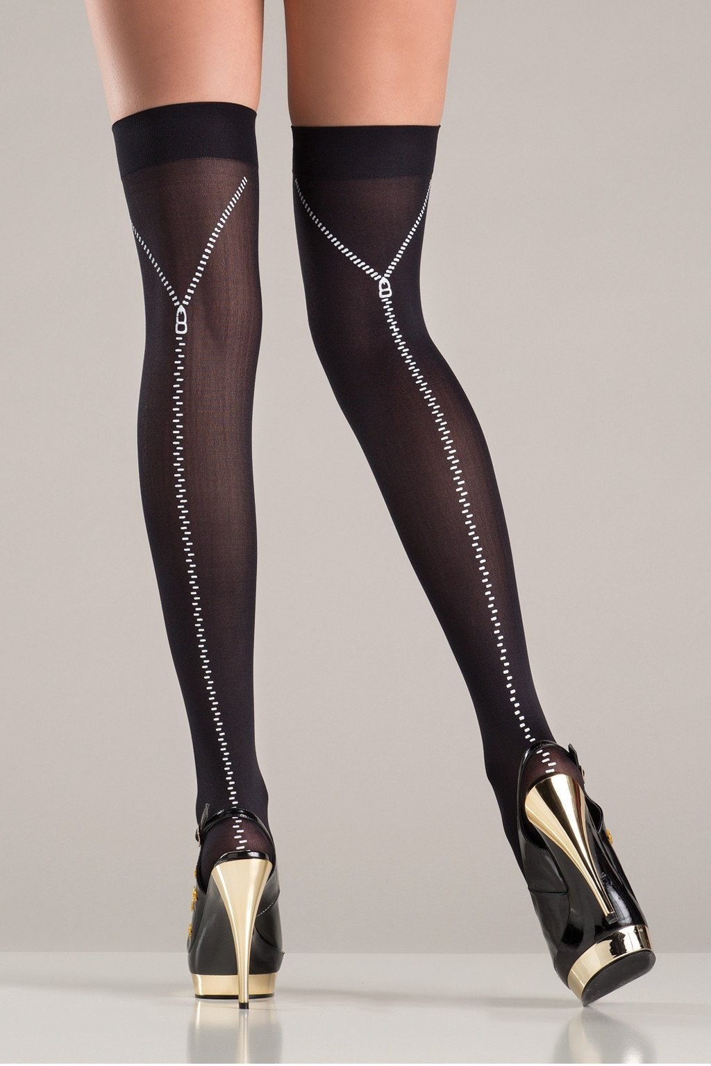 zip back stockings silver candyboxx