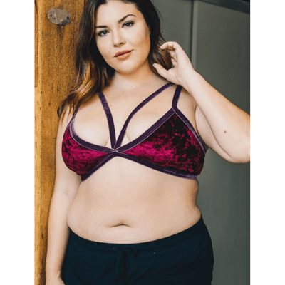 Plus Size Velvet Strappy Bralette - Comes in Black & Burgundy