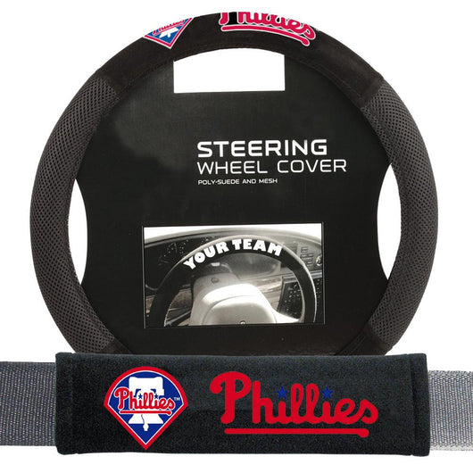 Philadelphia Phillies Mlb Steering Wheel Cover And Seatbelt Pad Auto Deluxe Kit (2 Pc Set)