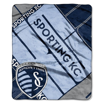 Sporting Kansas City Mls Royal Plush Raschel Blanket (scramble Series) (50