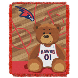 Atlanta Hawks Nba Triple Woven Jacquard Throw (half Court Baby Series) (36