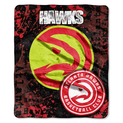 Atlanta Hawks Nba Royal Plush Raschel Blanket (drop Down Series) (50