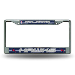 Atlanta Hawks Nba Bling Glitter Chrome License Plate Frame