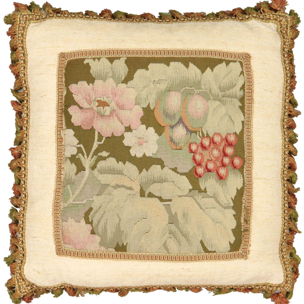 "Antique French Aubusson Pillow - 18"" x 20"""