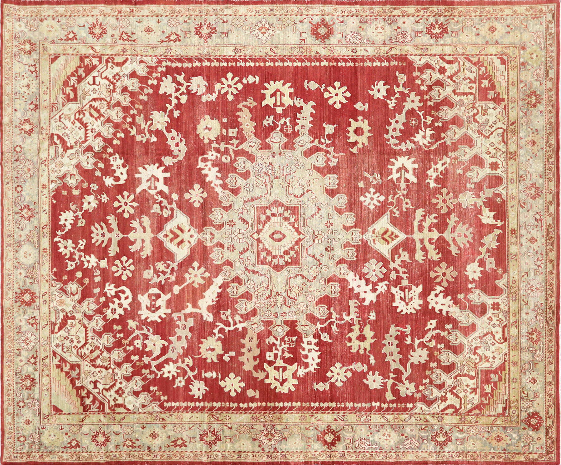 "Antique Turkish Oushak Carpet - 10'4"" x 12'4"""