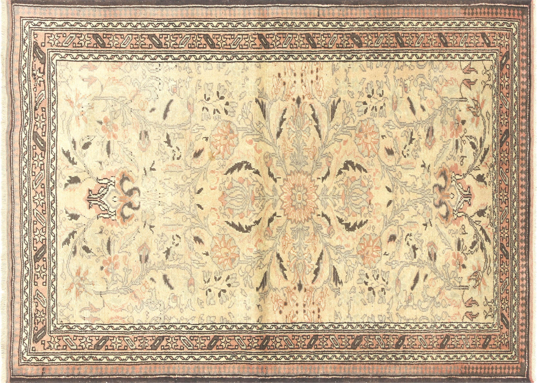 "Vintage Turkish Oushak Rug - 4'0"" x 5'5"""