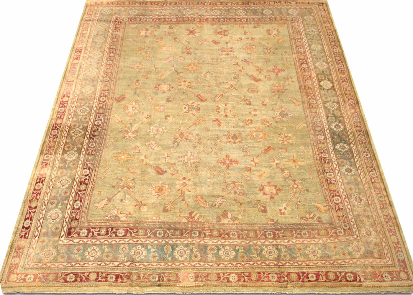 "Antique Turkish Oushak Carpet - 13'0"" x 14'2"""