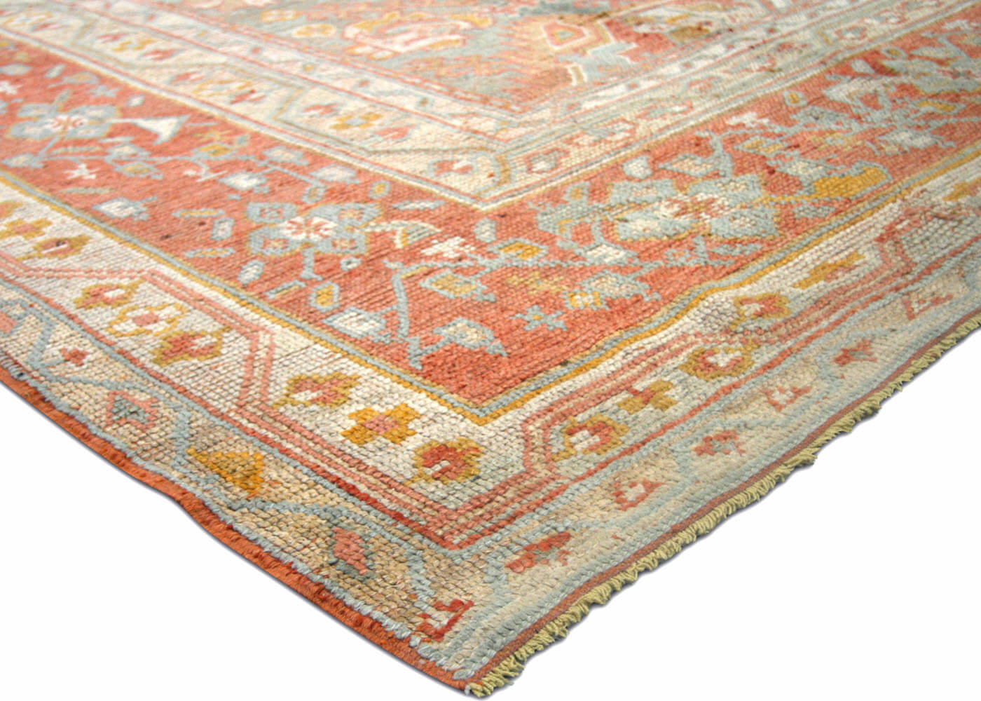 "Antique Turkish Oushak Carpet - 10'4"" x 13'"