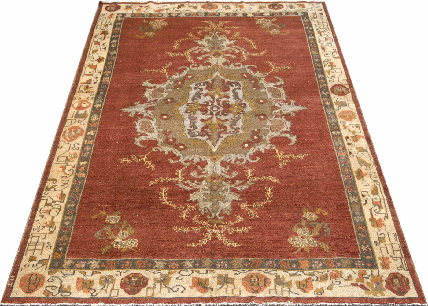 "Vintage Turkish Oushak Carpet - 7'4"" x 10'9"""
