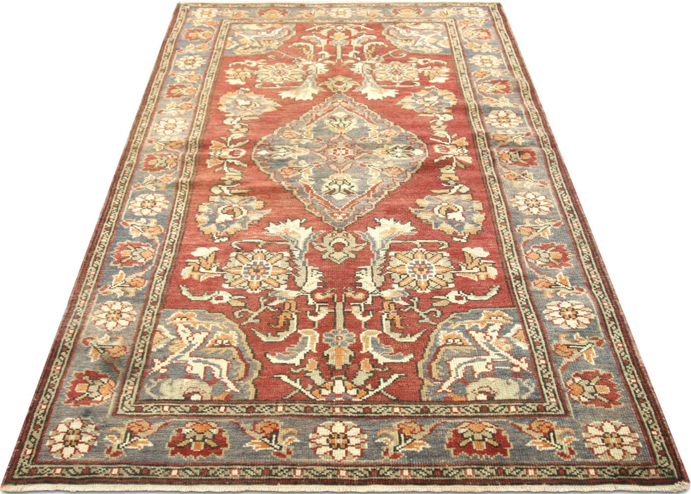 "Vintage Turkish Oushak Rug - 3'7"" x 6'2"""