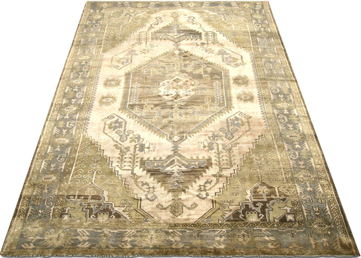 "Vintage Turkish Oushak Carpet - 6'6"" x 10'8"""