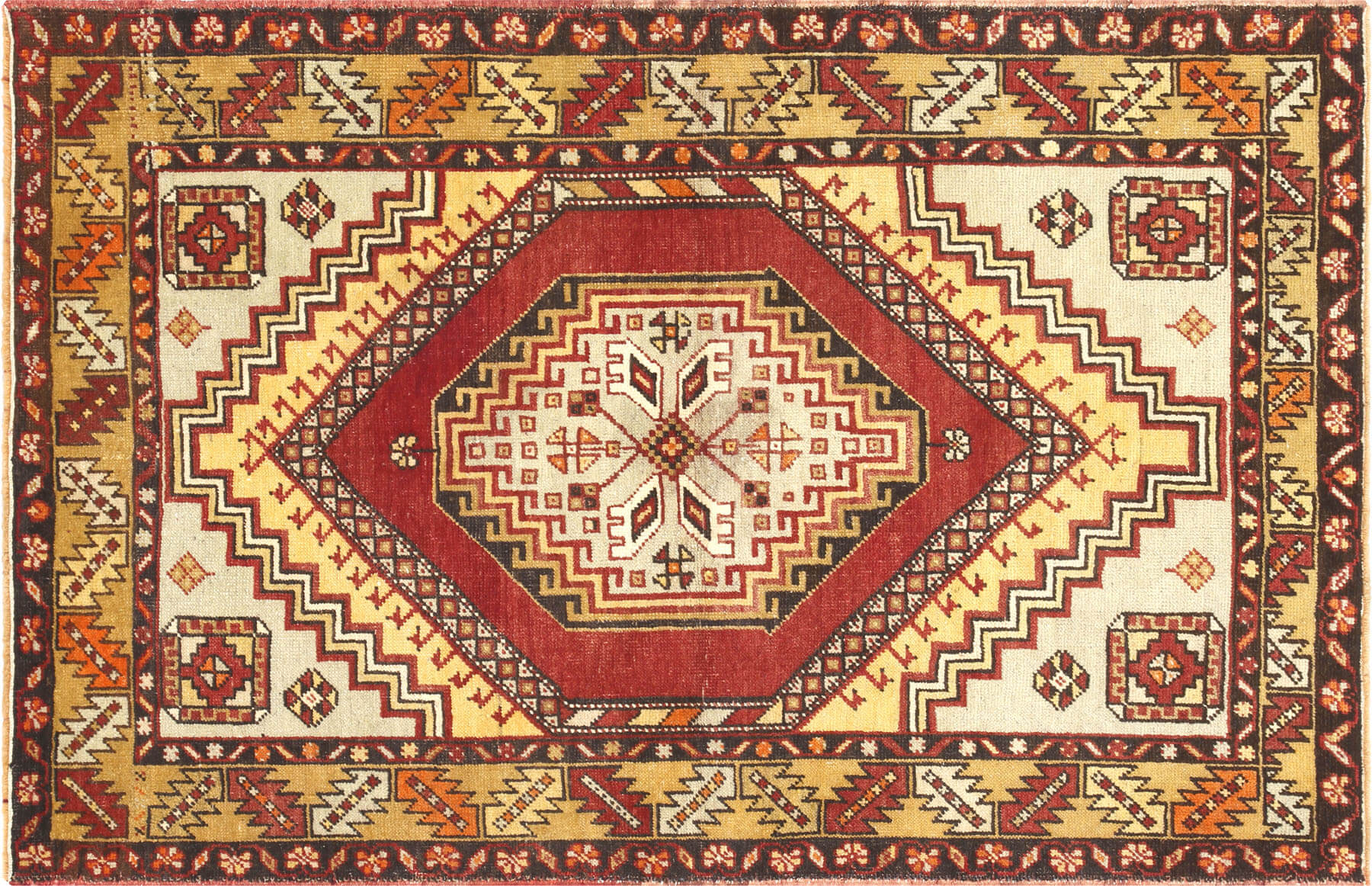 "Vintage Turkish Oushak Rug - 3'9"" x 5'9"""