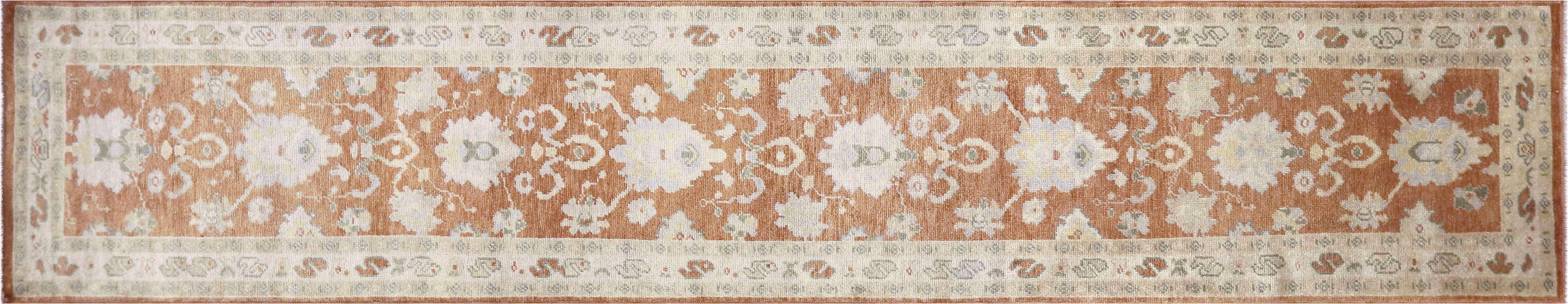 "Recently Woven Turkish Oushak Runner - 2'9"" x 14'1"""