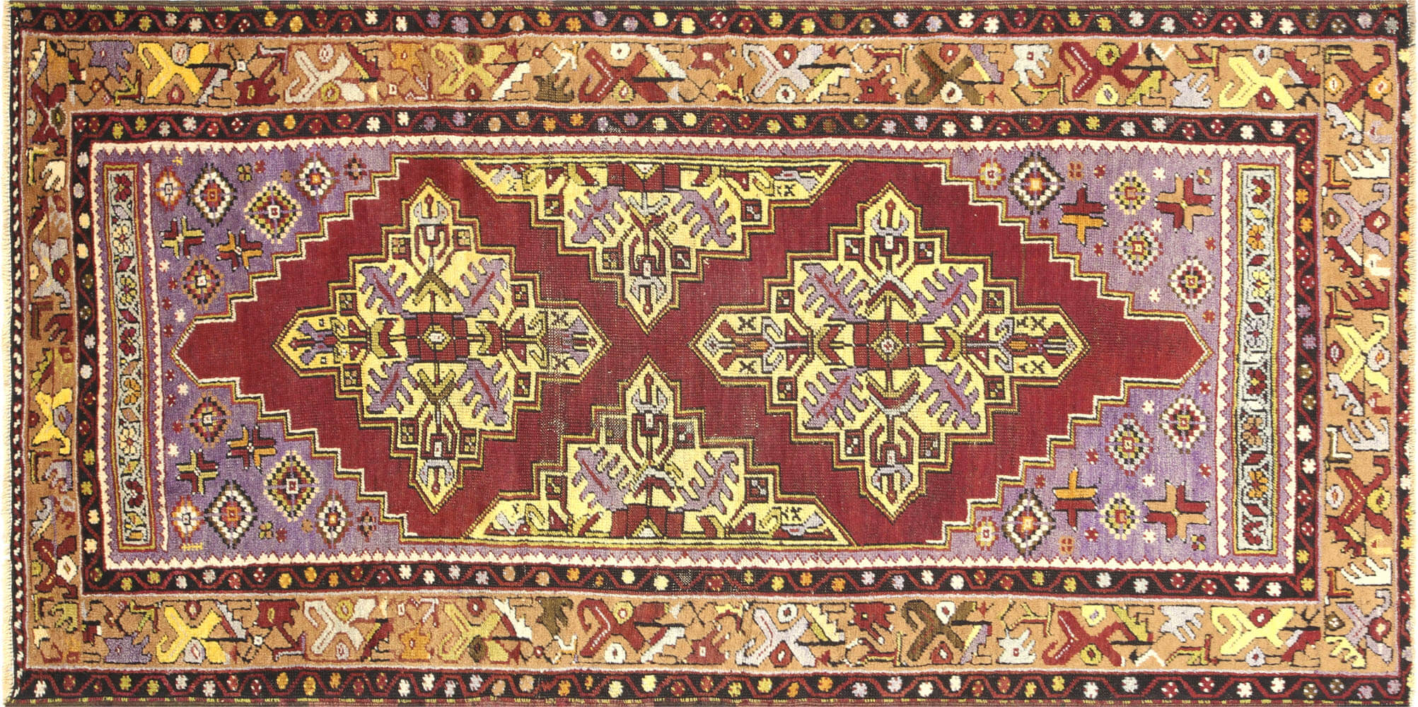"Vintage Turkish Oushak Rug - 3'7"" x 7'0"""