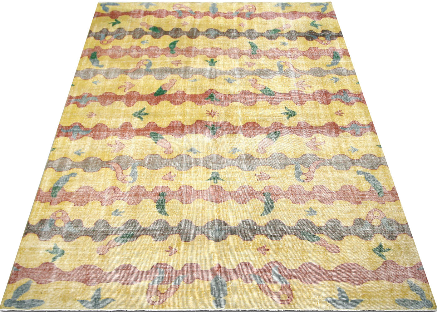 "Vintage Turkish Mid-Century Modern Carpet - 6'11"" x 10'0"""