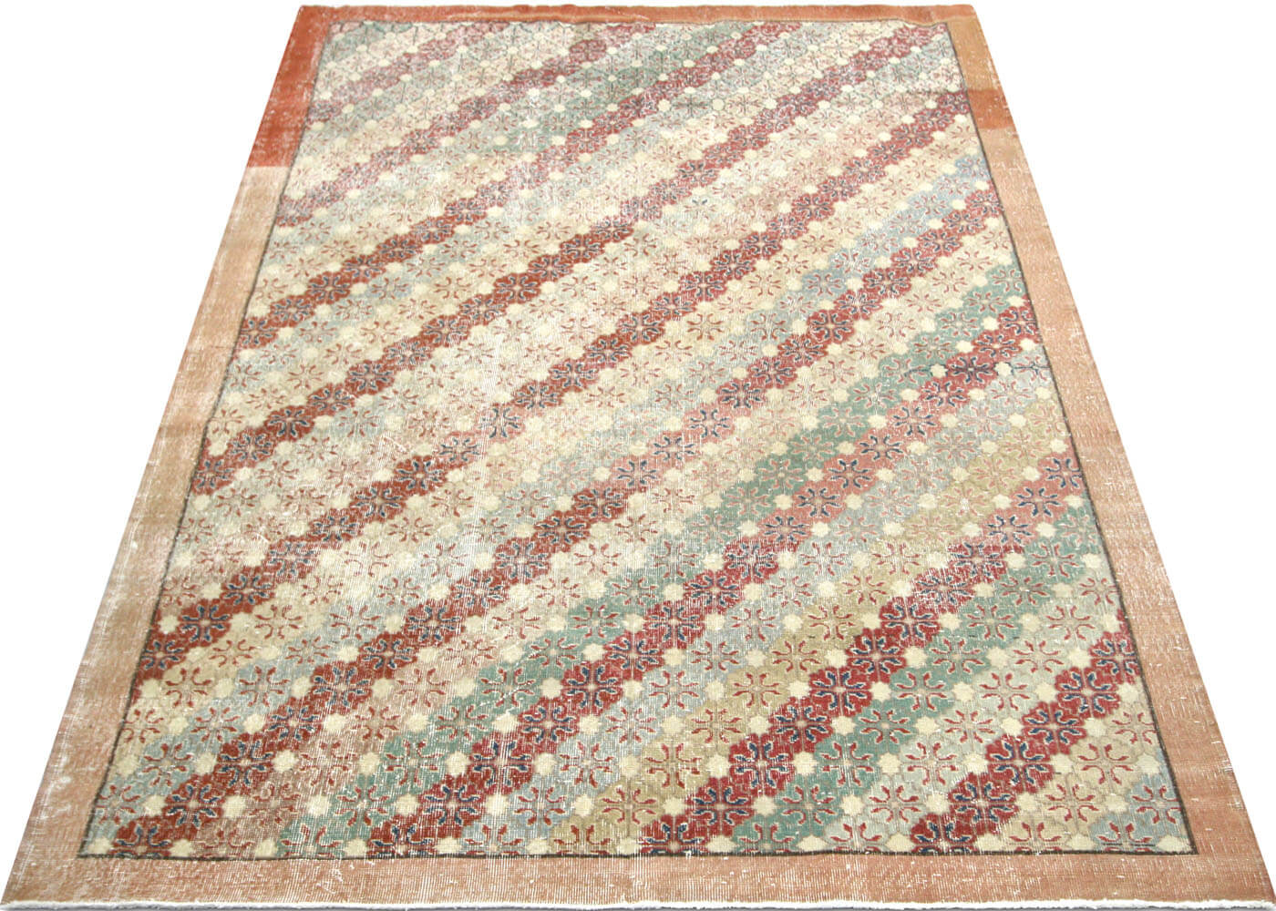"Vintage Turkish Mid-Century Modern Carpet - 7'1"" x 10'5"""