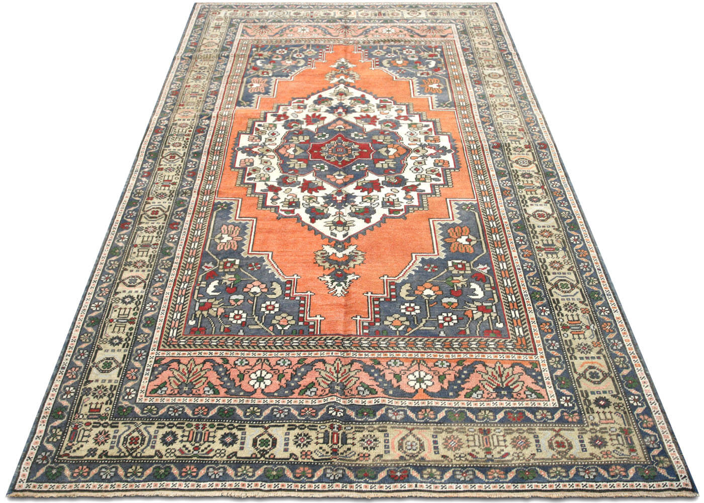 "Vintage Turkish Oushak Rug - 5'9"" x 9'4"""