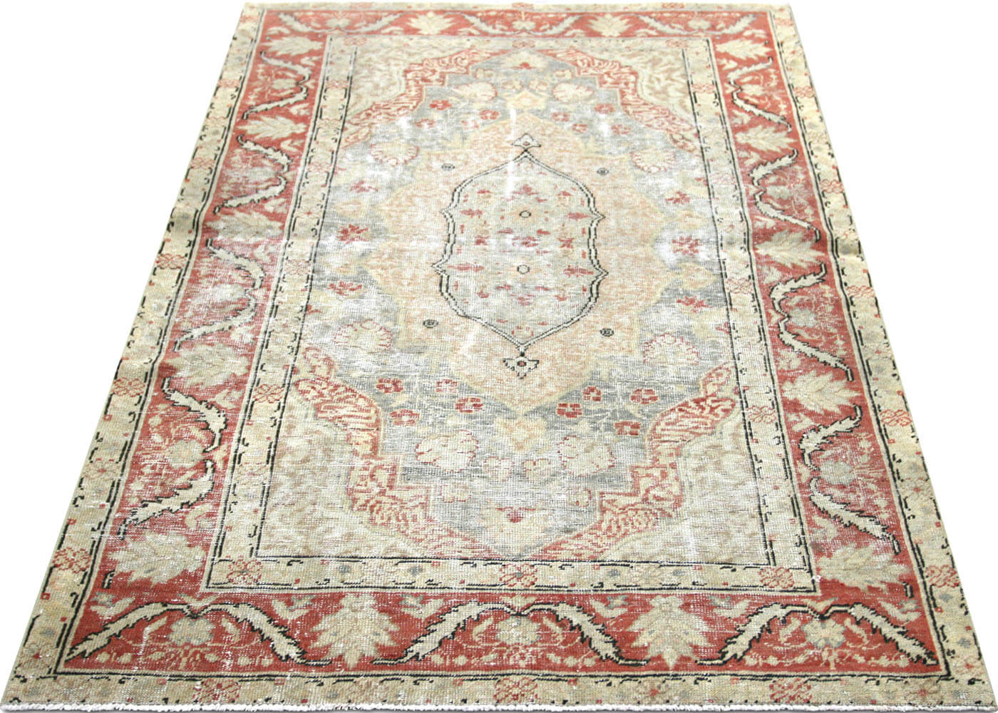 "Vintage Turkish Oushak Rug - 4'2"" x 6'2"""