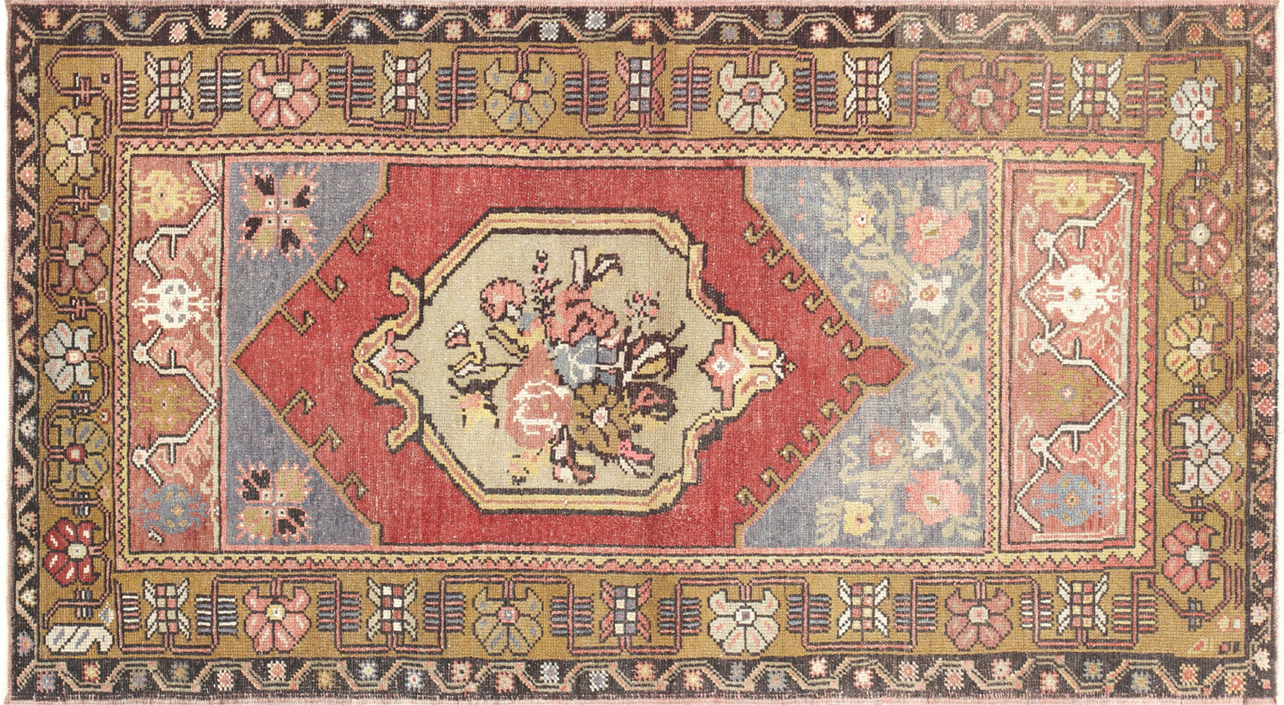 "Vintage Turkish Oushak Rug - 3'2"" x 5'10"""
