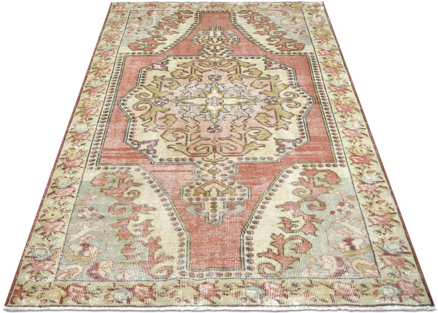 "Vintage Turkish Oushak Rug - 4'7"" x 7'4"""