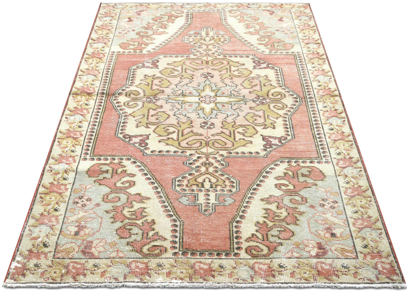 "Vintage Turkish Oushak Rug - 4'5"" x 7'3"""
