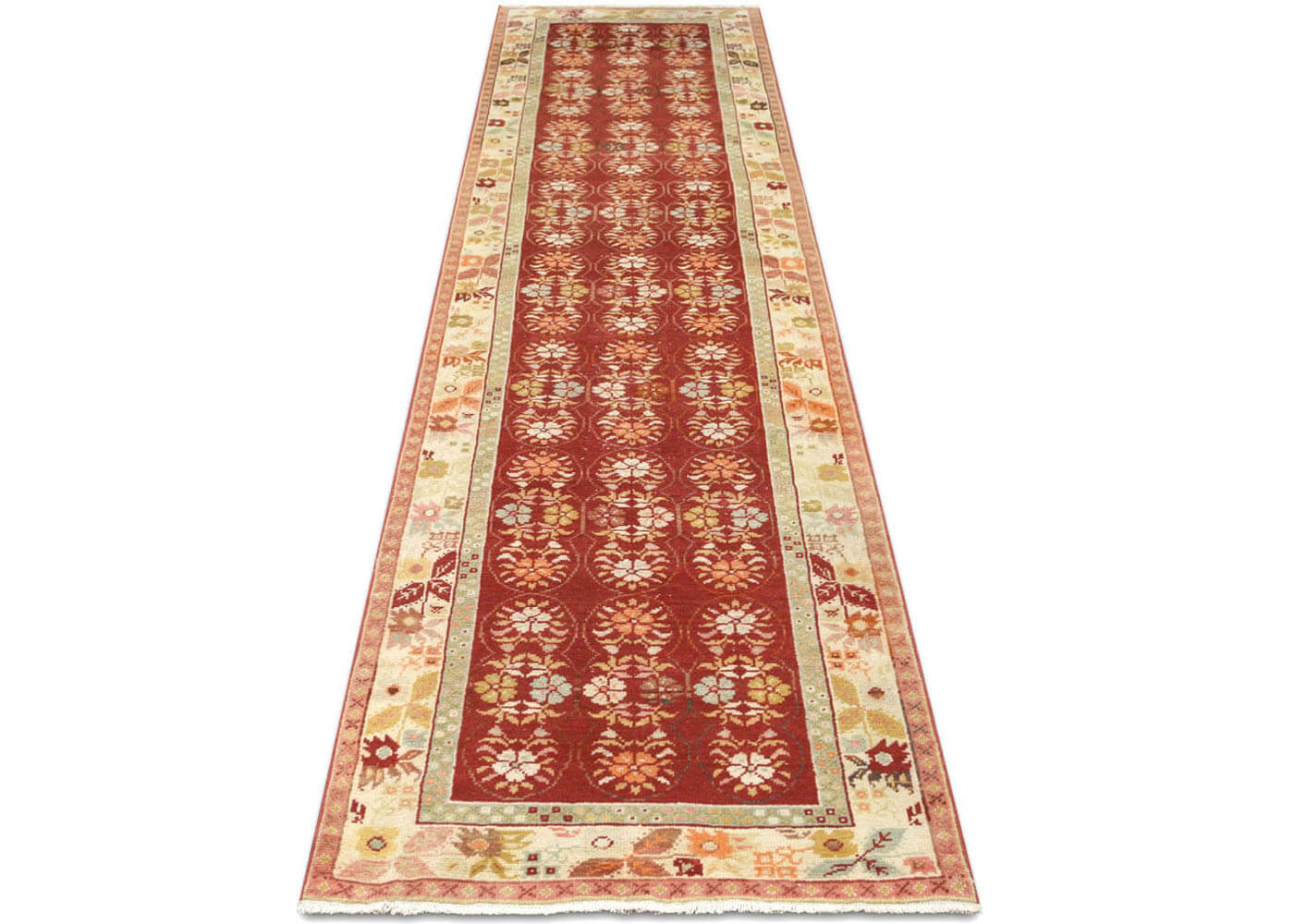 "Vintage Turkish Oushak Runner - 3'2"" x 12'10"""