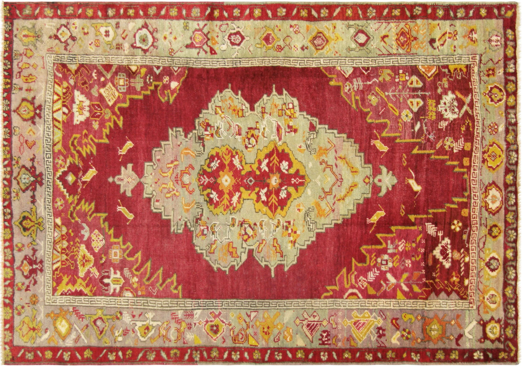 "Vintage Turkish Oushak Rug- 4'2"" x 6'3"""