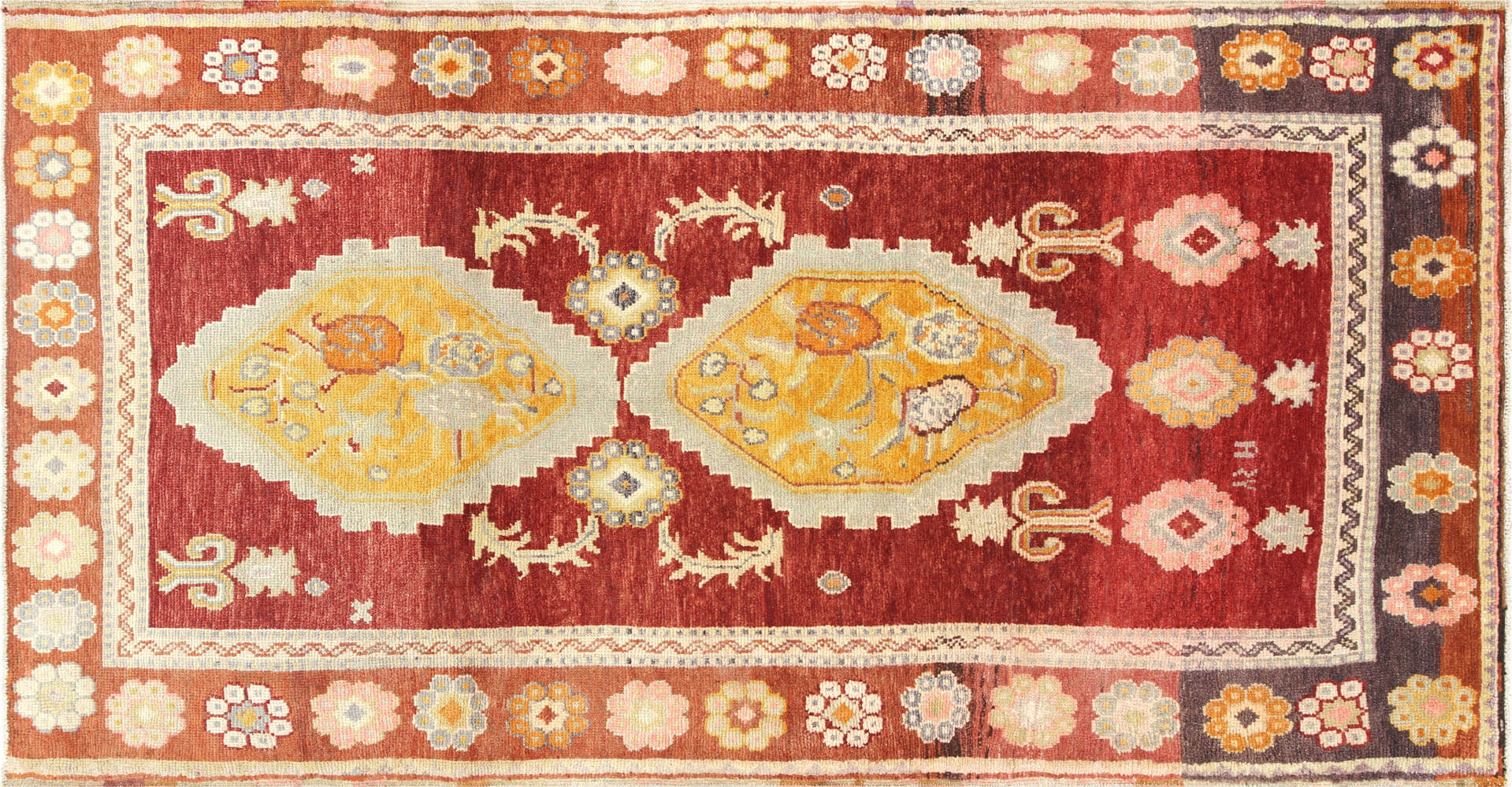 "Vintage Turkish Oushak Rug - 5'1"" x 9'6"""