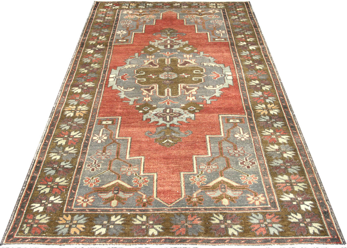 "Vintage Turkish Oushak Rug - 4'4"" x 8'3"""