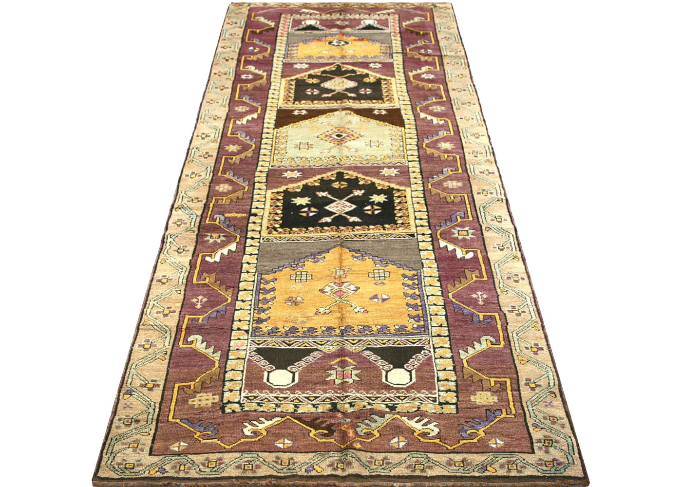 "Vintage Turkish Oushak Carpet - 4'6"" x 12'0"""