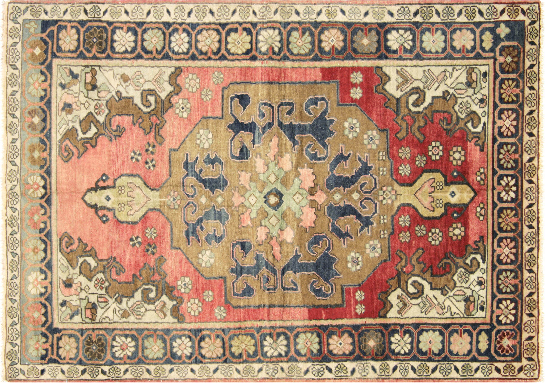 "Vintage Turkish Oushak Rug - 3'10"" x 5'6"""