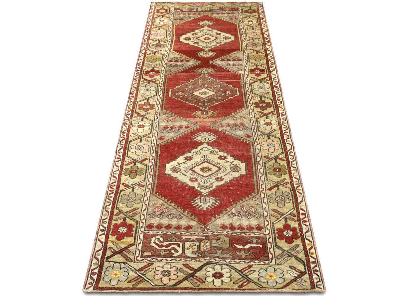 Vintage Turkish Oushak Runner - 3' x 8'7""