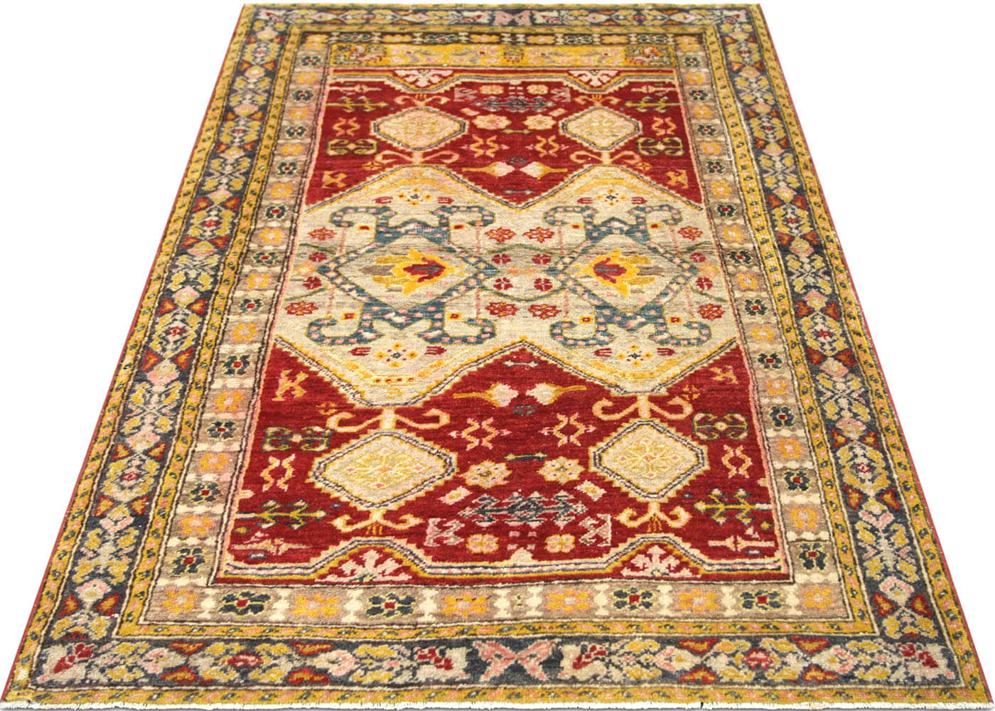 "Vintage Turkish Oushak Rug - 3'8"" x 6'2"""