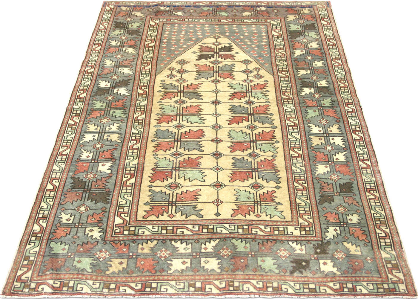 "Vintage Turkish Oushak Rug - 4'4"" x 6'4"""