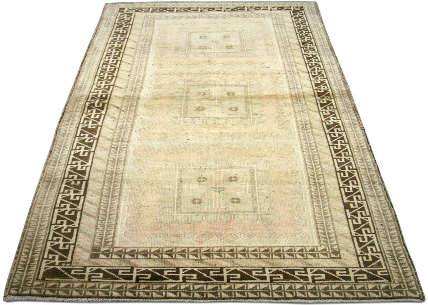 "Vintage Turkish Oushak Rug - 3'8"" x 6'7"""