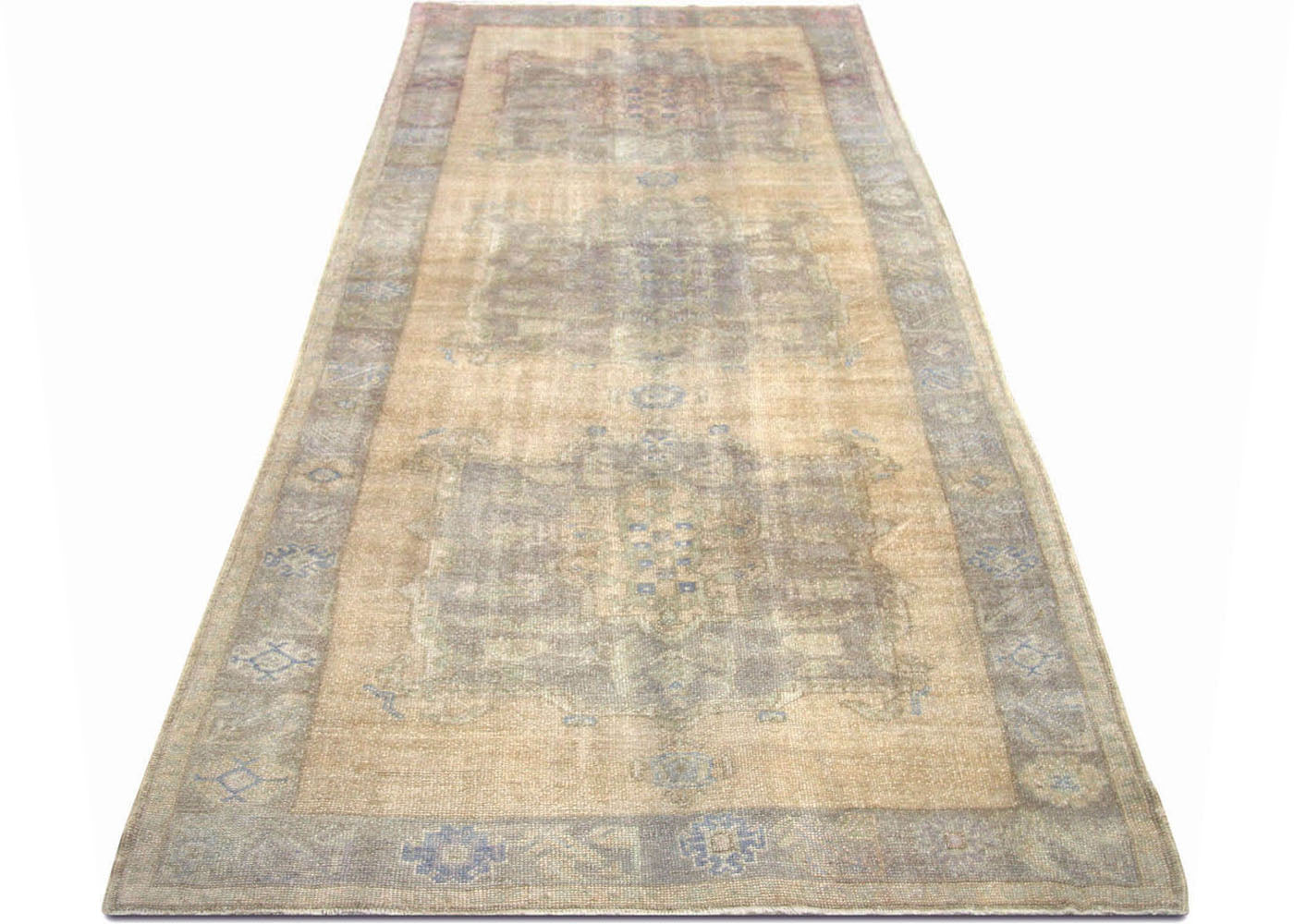 "Vintage Turkish Oushak Carpet - 5'3"" x 12'10"""
