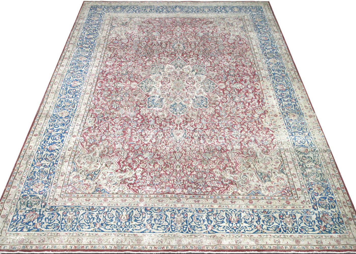 "Vintage Persian Kerman Carpet - 10'11"" x 16'"