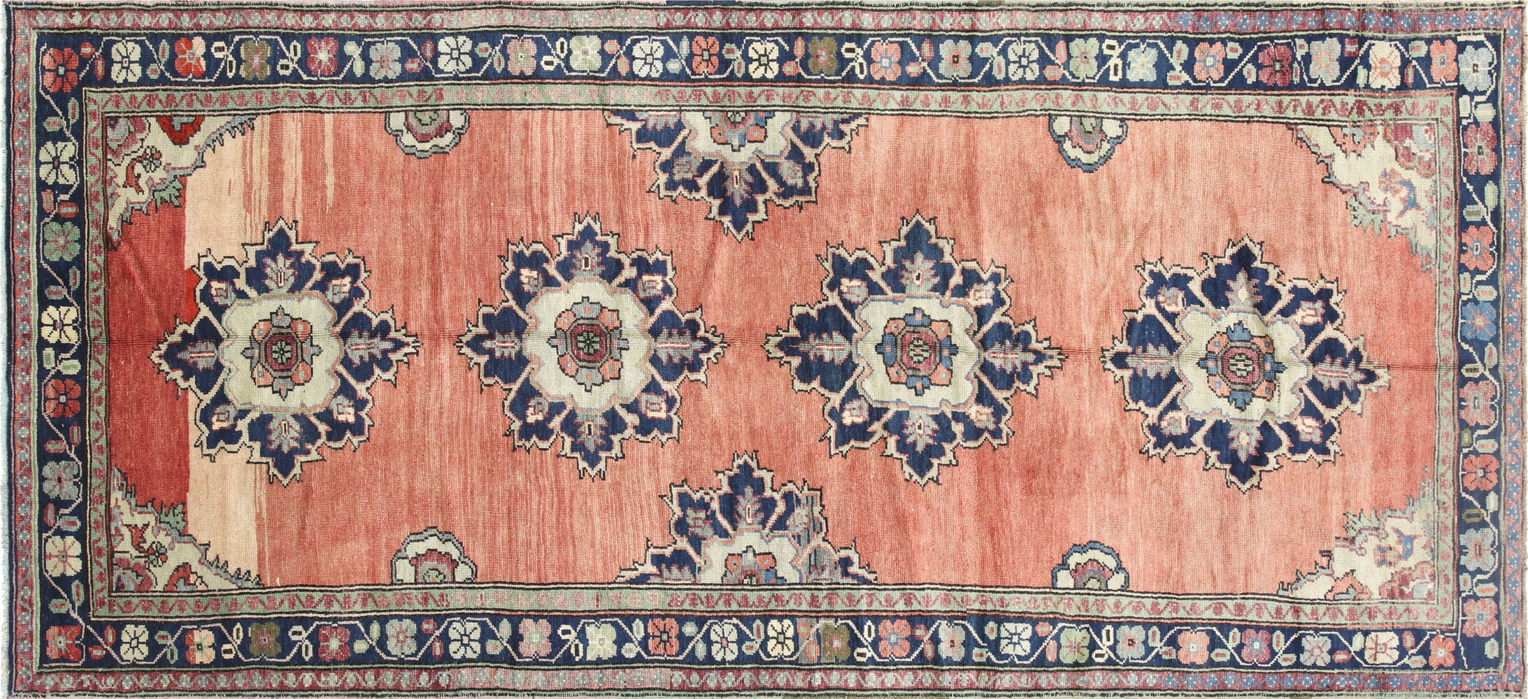 "Vintage Turkish Oushak Carpet - 4'8"" x 10'1"""