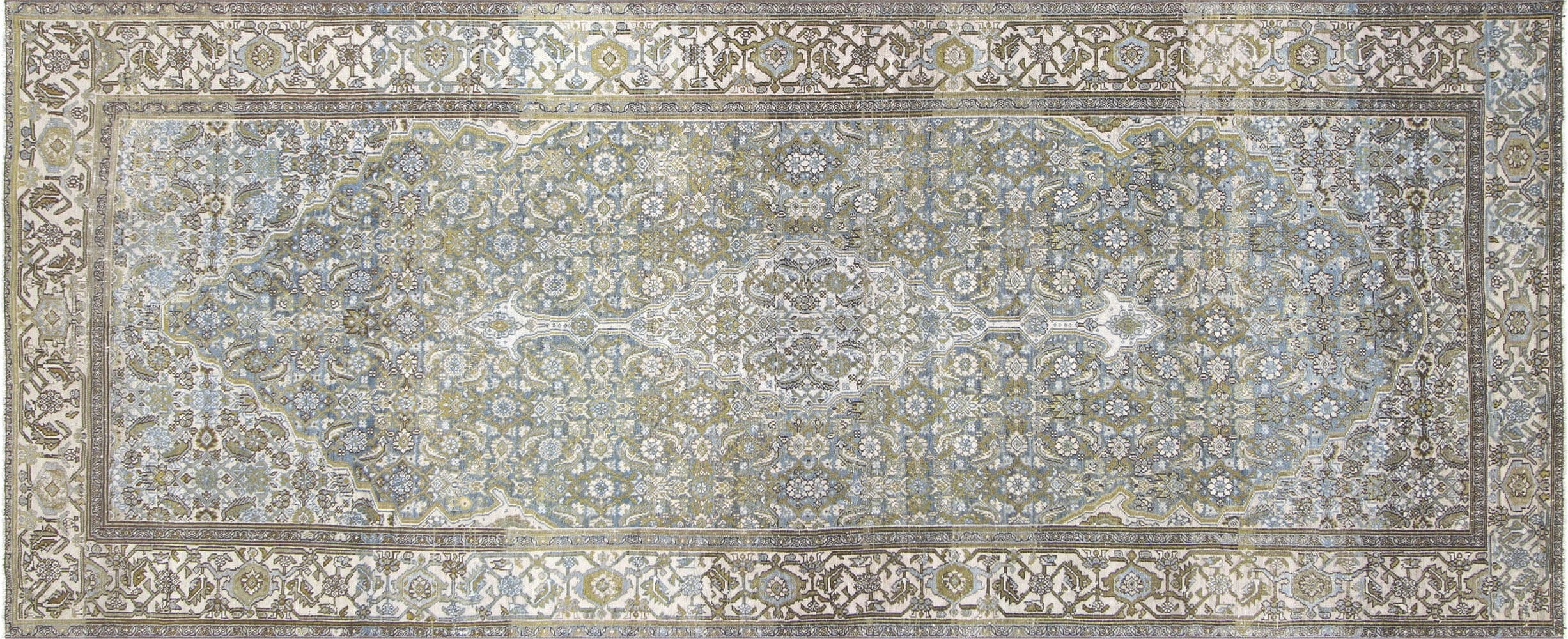 "Semi Antique Persian Melayer Carpet - 5'2"" x 12'7"""