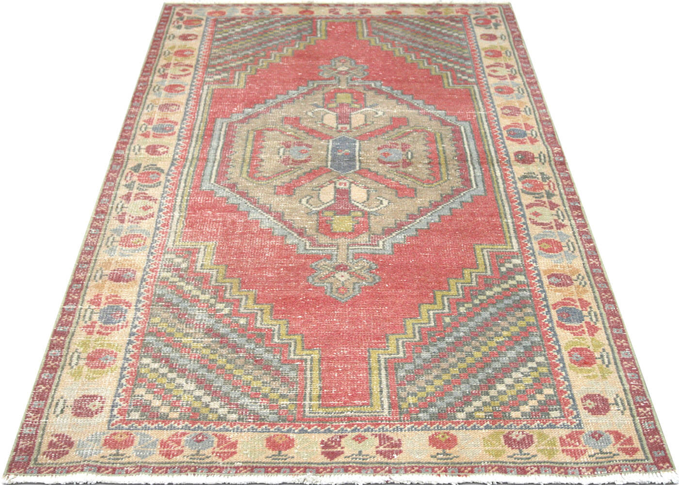 "Vintage Turkish Oushak Rug - 3'7"" x 6'4"""