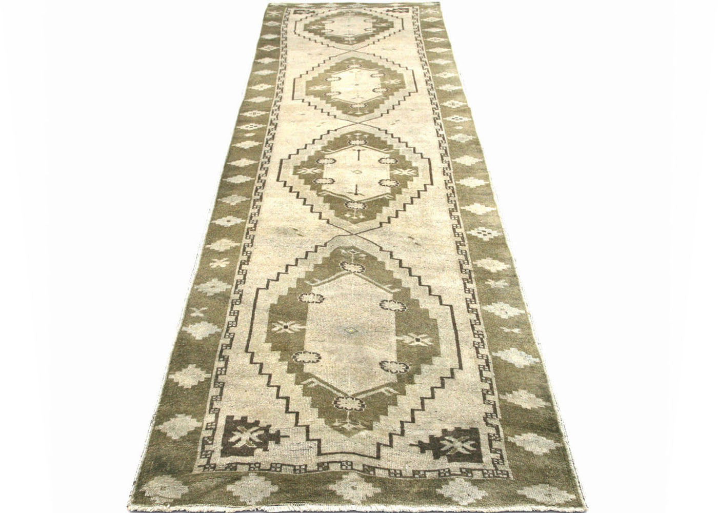 "Vintage Turkish Oushak Runner - 3'9"" x 12'9"""