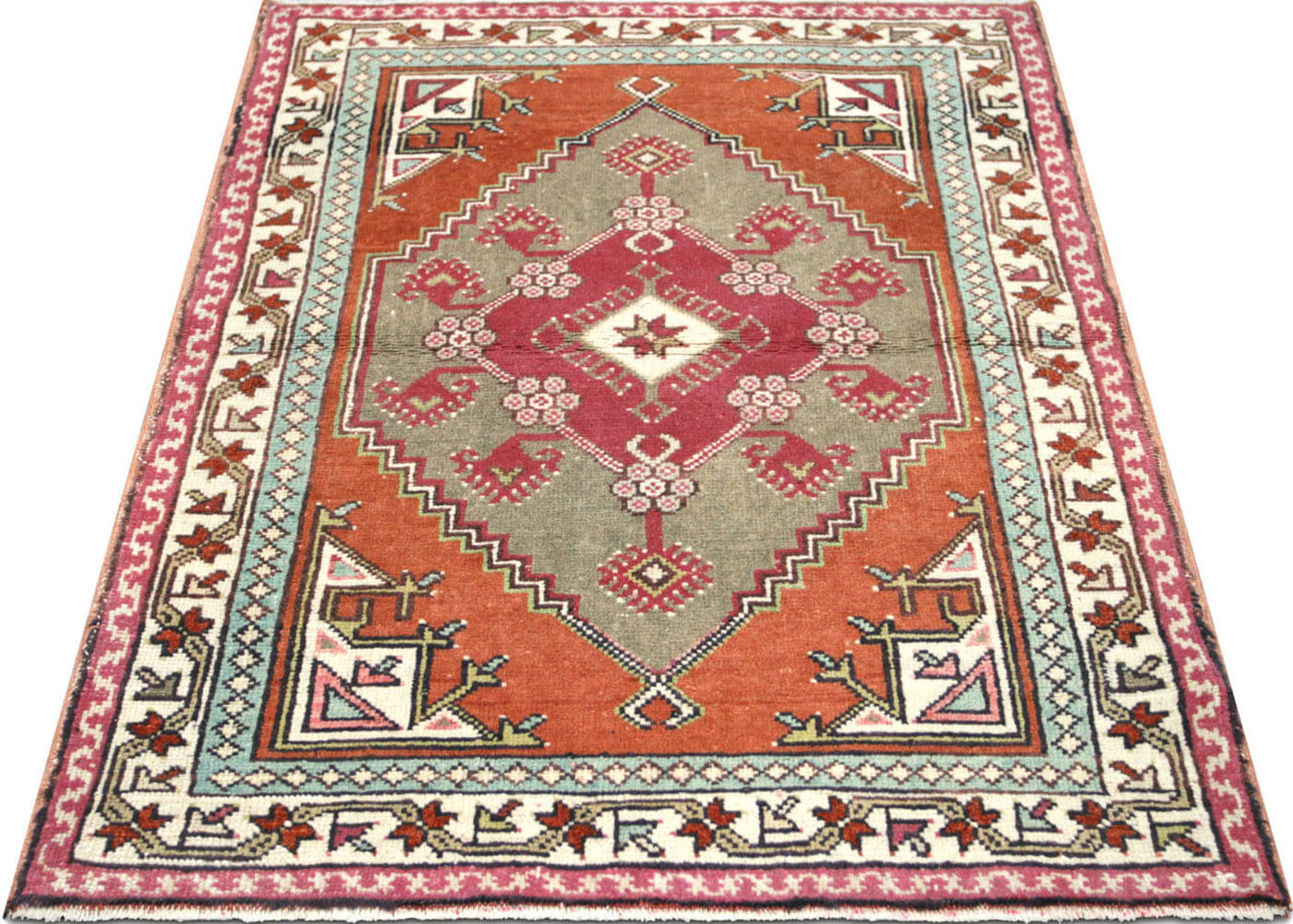 "Vintage Turkish Oushak Rug - 2'9"" x 3'7"""
