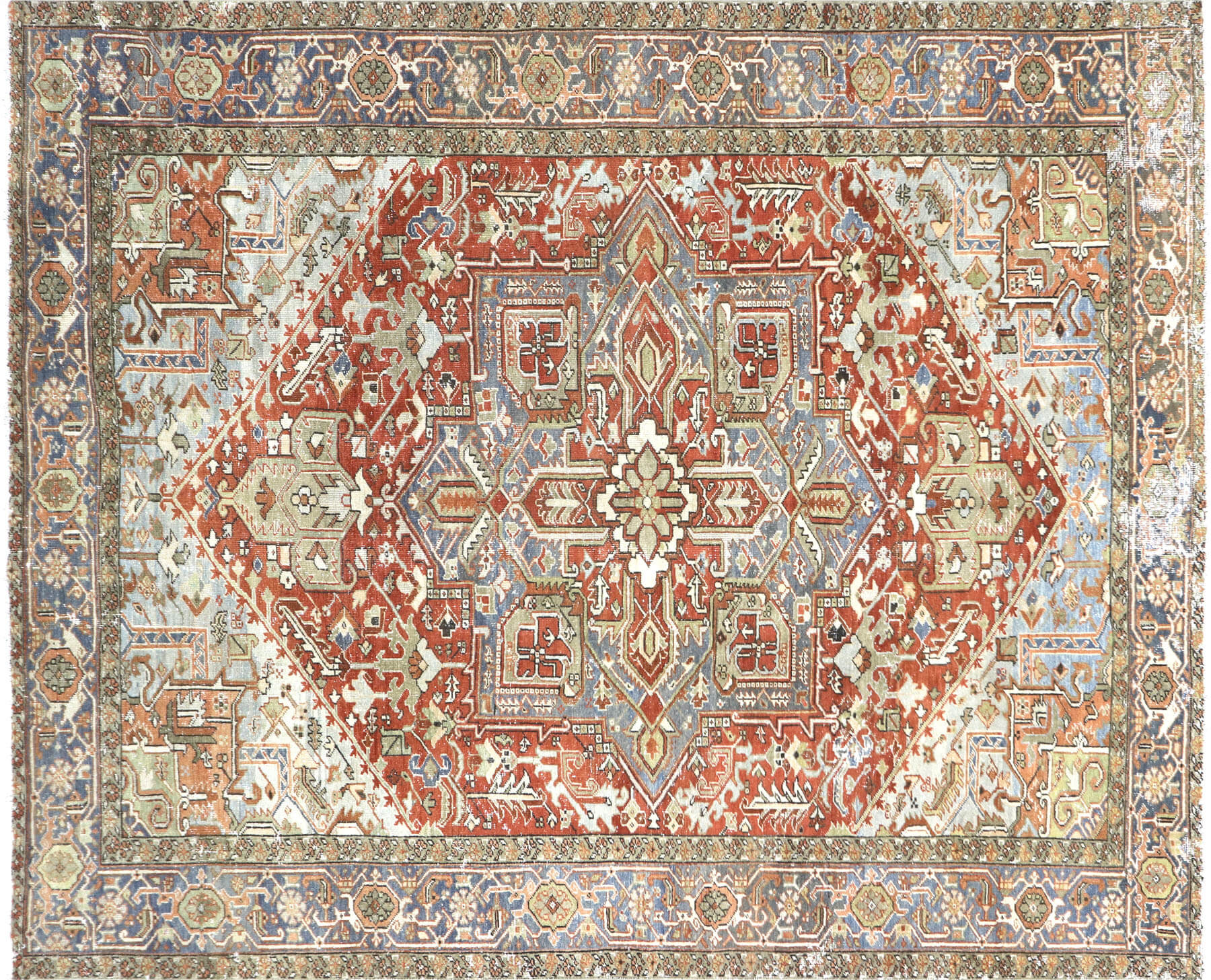 "Semi Antique Persian Heriz Carpet - 9'4"" x 11'9"""